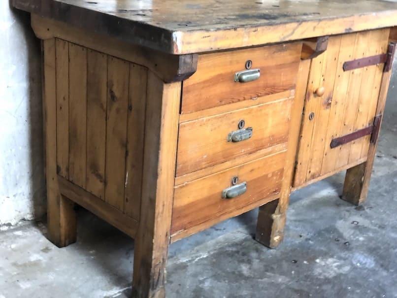 Industrial Werkbank aus Holz
